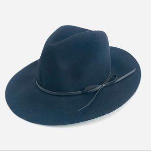 Black Wool Rancher Felt Hat Fedora Bow Tie Belt